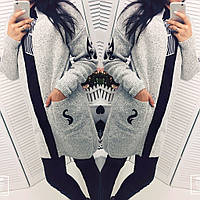 Женский модный теплый кардиган серого цвета с карманами