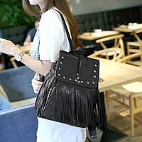 Молодежный рюкзак с бахромой и заклепками