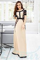 Дизайнерское вечернее платье. Цвет бежево-черный.