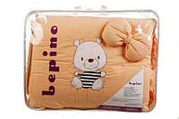 """Постельный набор в детскую кроватку """"BEPINO """" цветная вышивка  Мишка в тельняшке персиковый"""