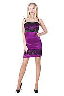 Платье с гипюром и вышивкой, 42-44, пурпур