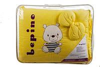"""Постельный набор в детскую кроватку """"BEPINO """" цветная вышивка  Мишка в тельняшке желтый"""
