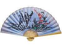 Веер на стену Сакура с лошадьми на голубом фоне