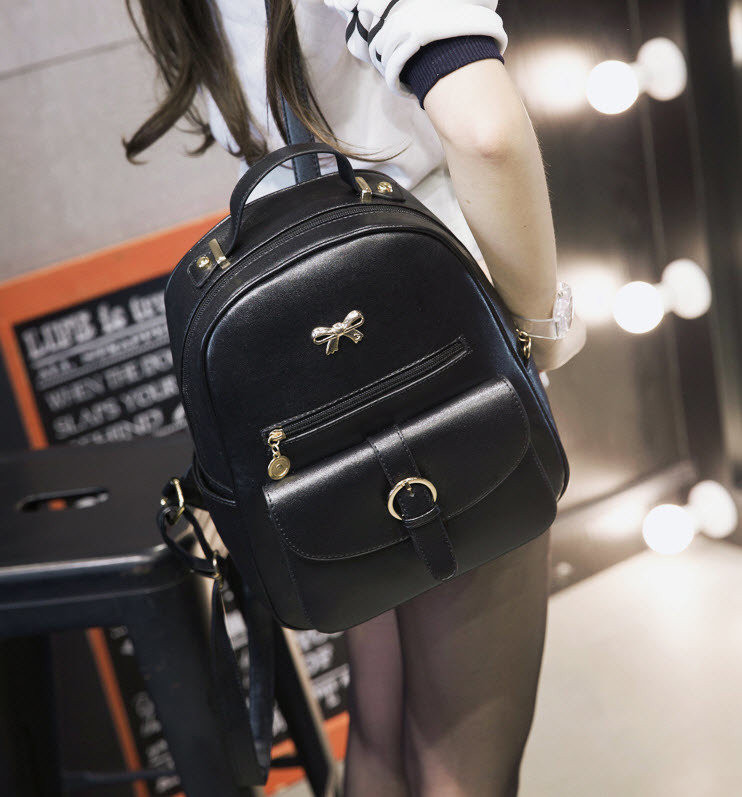 Стильный рюкзак с бантиком и красивым карманом