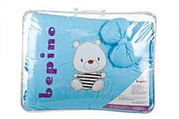 """Постельный набор в детскую кроватку """"BEPINO """" цветная вышивка  Мишка в тельняшке голубое"""