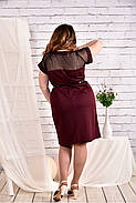 Женское платье с сеткой короткий рукав 0469 цвет бордо размер 42-74 / большого размера, фото 4