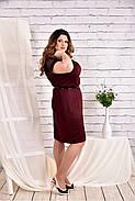 Женское платье с сеткой короткий рукав 0469 цвет бордо размер 42-74 / большого размера, фото 2