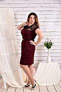 Женское платье с сеткой короткий рукав 0469 цвет бордо размер 42-74 / большого размера, фото 3