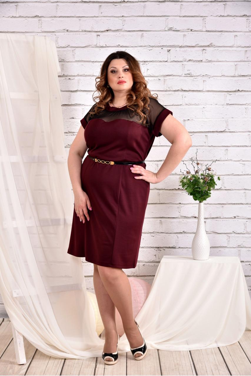 Женское платье с сеткой короткий рукав 0469 цвет бордо размер 42-74 / большого размера