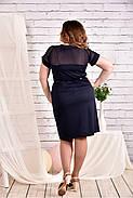 Женское платье с сеткой короткий рукав 0469 цвет синий размер 42-74 / большого размера, фото 3