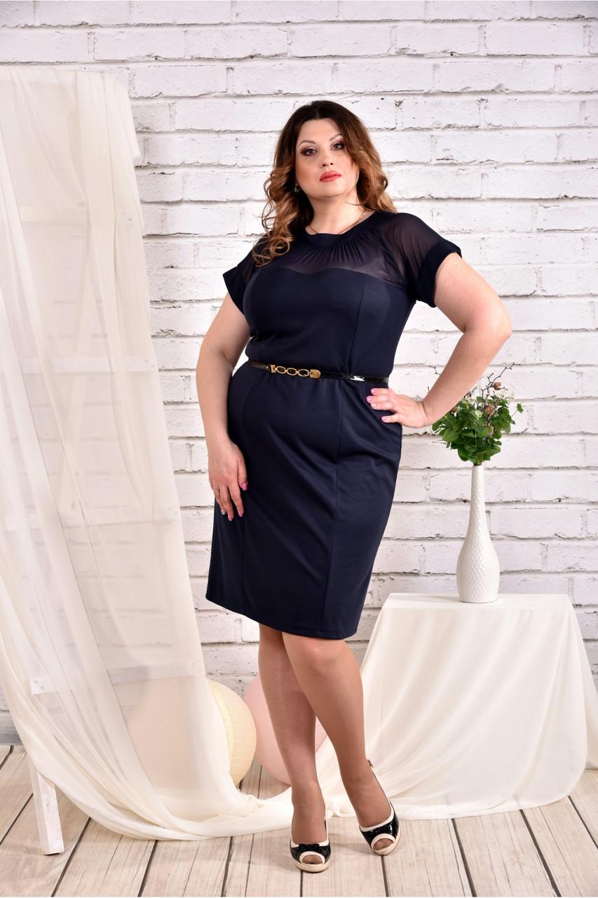 Женское платье с сеткой короткий рукав 0469 цвет синий размер 42-74 / большого размера