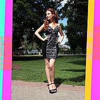 Платье с вышивкой, 42, чёрный