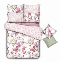 Постельное белье из сатина евро нежно розовый