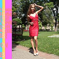 Платье с вышивкой, 42, красный