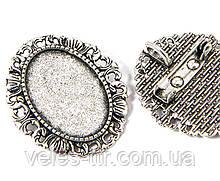 Основа для броши - кулона Сеттинг под кабошон овальная серебро античное 34х30 мм кабошон 25х18 мм