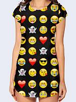 """Женская футболка-туника """"Смайлы"""" (Smile) черного цвета с коротким рукавом. Прямой крой не стесняет движений. L(48)"""