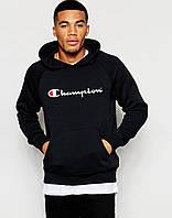 Молодежная мужская черная толстовка с принтом Chаmpion Чемпион Худи