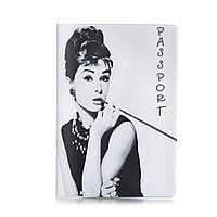 """Прикольная обложка для паспорта """"Одри Хепберн"""""""
