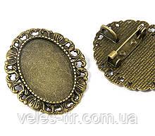 Основа для броши - кулона Сеттинг под кабошон овальная бронза 34х30 мм кабошон 25х18 мм