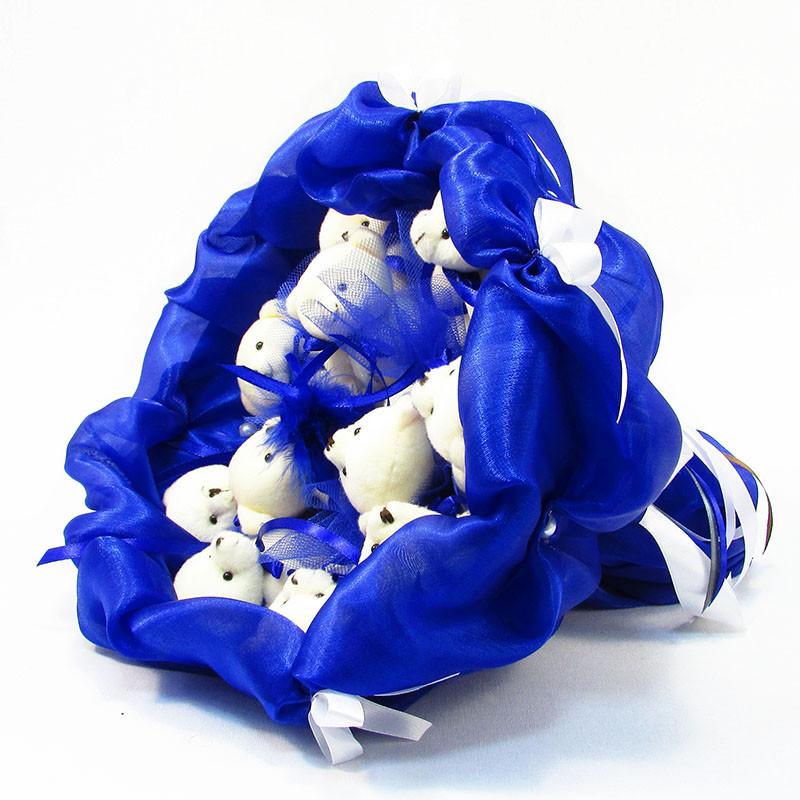 Букет из игрушек Мишки 11 синий