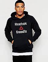 Кофта толстовка Reebok CrossFit Рибок черная для парня с принтом Худи