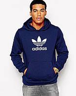 Тикотажная толстовка с принтом Adidas Адидас Худи темно-синяя
