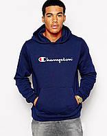 Молодежная мужская толстовка темно-синяя с принтом Chаmpion Чемпион Худи
