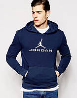 Толстовка Jordan Джордан молодежная для парня с принтом Худи темно-синяя