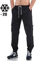 Зимние мужские штаны карго Ястребь - Black (Черный) (Опт и розница)