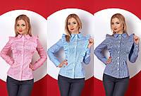 Женская коттоновая рубашка в полоску №382 (р.42-50)