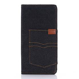 Чехол книжка для Sony Xperia Z5 Premium E6853 / Dual E6883 боковой с отсеком для визиток, Джинс, черный