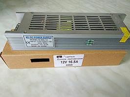 """Блок питания 12v 16.5a 200Вт """"long"""" в перфорированном корпусе для светодиодной ленты"""