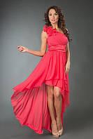 """Коктейльное платье на одно плечо """"Sharina"""" с цветами и асимметричной юбкой (6 цветов)"""