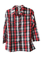 """Рубашка женская (коттон) клетка красно-черная Турция """"Smile"""" B-1053"""