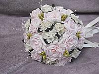 Свадебный букет-дублер из роз розово-бежевый