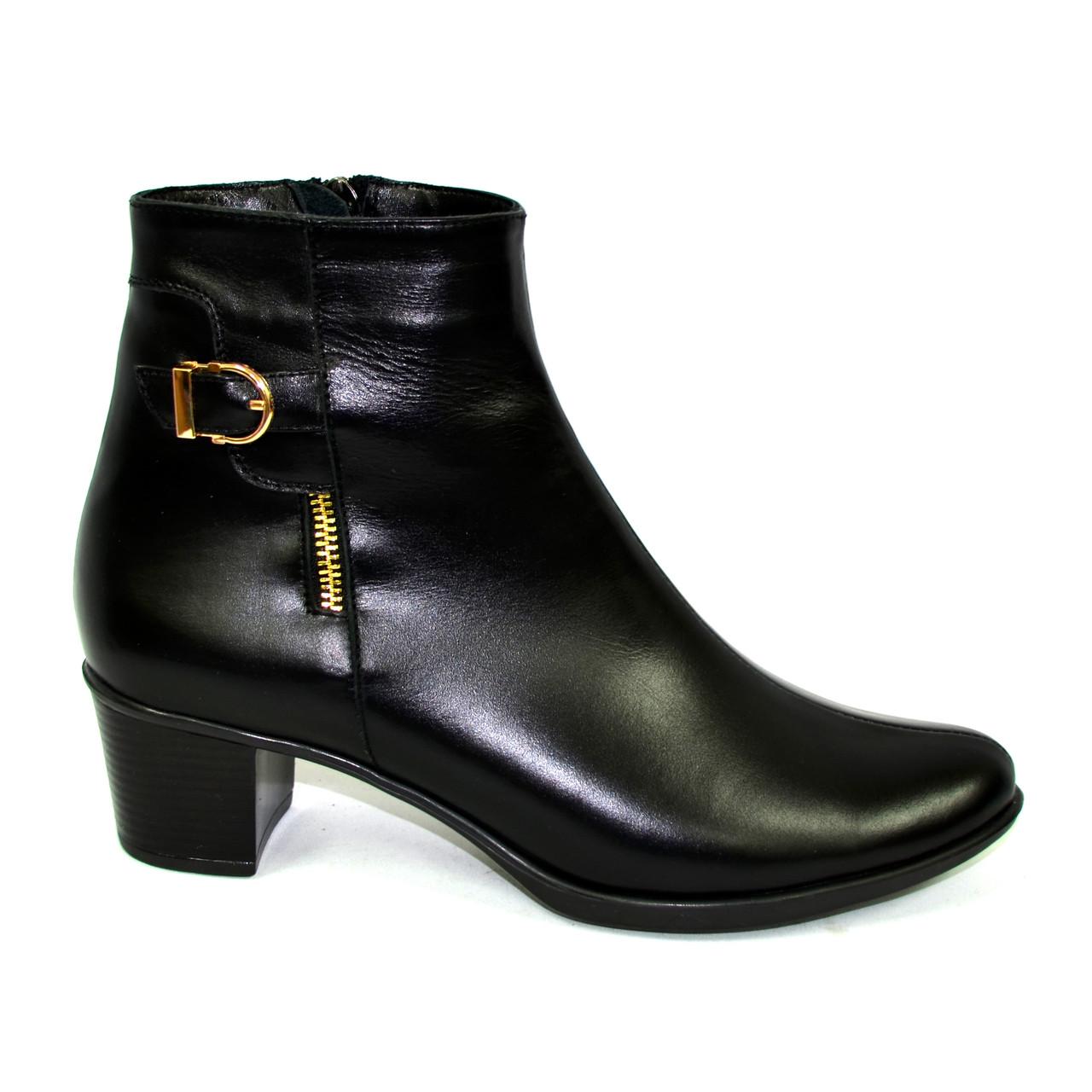 Женские классические кожаные демисезонные полуботинки на устойчивом каблуке