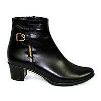 Женские классические кожаные зимние полуботинки на устойчивом каблуке