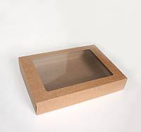 Коробка из крафт картона с окошком 345x245x60 мм