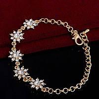 1092 - Бижутерия позолоченный браслет с белыми кристаллами