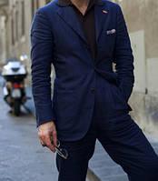 Модный костюм мужской брюки и пиджак, для выпускного, деловой, модный из натурального льна