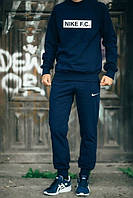 Мужской Спортивный костюм Nike F.C. Найк темно-синий (большой принт) (РЕПЛИКА)