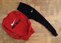 Мужской Спортивный костюм Nike Just Do It красный с черными штанами (большой принт)