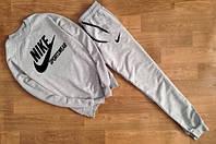 Костюм спортивный мужской Nike Sportswear серый (большой черный принт) (РЕПЛИКА)