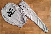 Спортивный костюм мужской Nike Sportswear серый (большой черный принт) (РЕПЛИКА)