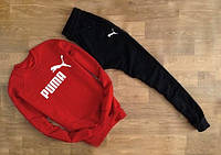 Спортивный костюм Puma Пума красный с черными штанами (большой белый принт)