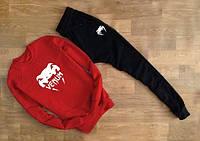 Модный спортивный костюм Venum Венум красный с черными штанами (большой белый принт)
