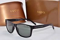 Солнцезащитные очки прямоугольные Gucci стекло черные