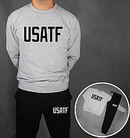 Модный спортивный костюм Nike Найк USATF серый с черными штанами (большой принт)