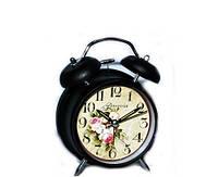Металлические часы будильник черные в стиле Прованс