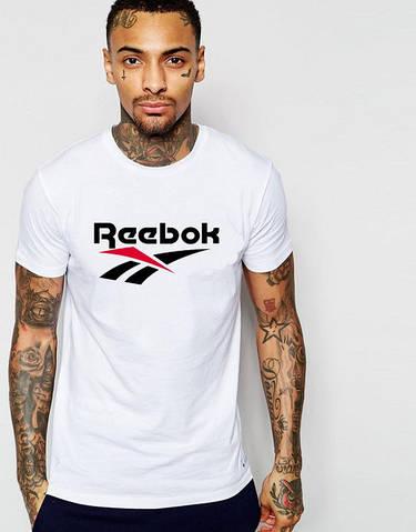 Футболка мужская Reebok Рибок белая (большой принт) (РЕПЛИКА)
